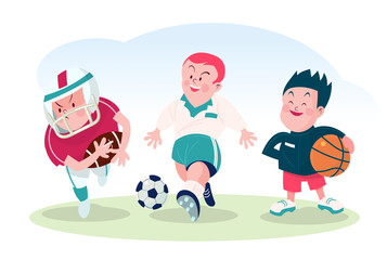 set of boy  playing soccer  and basket ball vector illustration