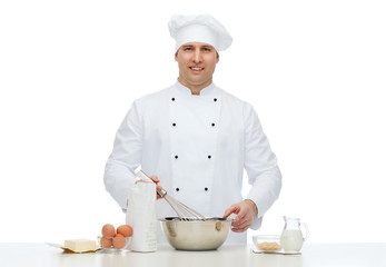 happy male chef cook baking