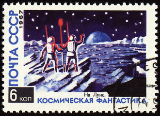 "Fantesy picture ""On the Moon"" on post stamp"