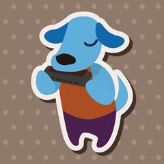 musical animal dog flat icon elements background,eps10