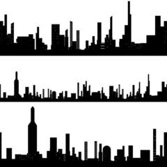 Black silhouette seamless cityscape