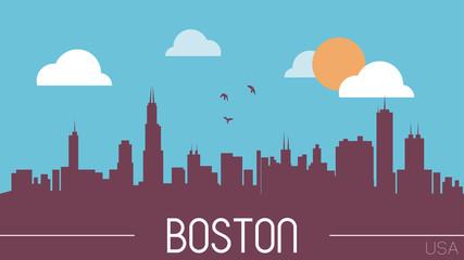 Boston USA skyline silhouette vector illustration