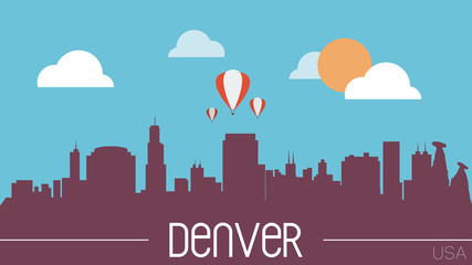 Denver USA skyline silhouette flat design vector