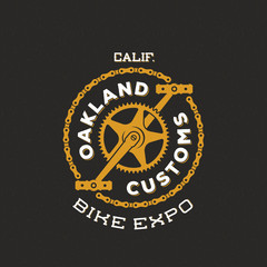 Retro Vector Bike Custom Show Expo Label or Logo Design