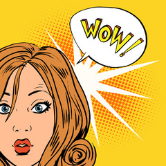 wow surprise girls pop art comics retro style Halftone