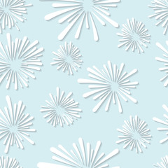 Seamless white abstract floral element pattern template