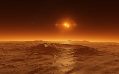 Mars  Scientific illustration -  planetary landscape