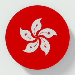 Button Hong Kong flag isolated on white background