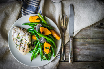 Wall Mural - Grilled chicken breast with vegetables