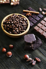 Still life with set of chocolate, spices and coffee grains