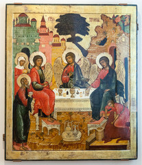Antique Russian orthodox icon The Old Testament Trinity