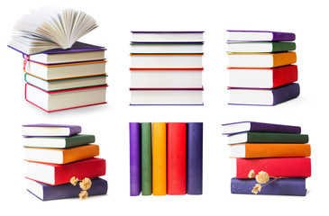 Сolored books isolated on white background