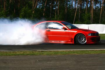 Fototapete - rauchende Auto Reifen