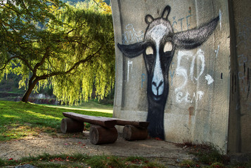 Graffiti on the concrete wall above a wooden bench in the park.
