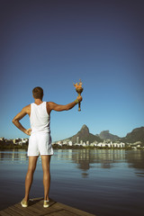 Young Man Holding Olympic Torch Rio de Janeiro