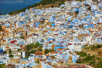 Aerial view of of Chefchaouen, Morocco