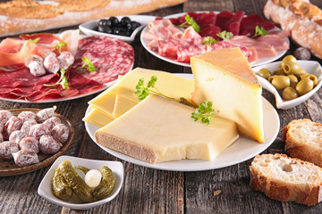 cheese, salami,bread and olive