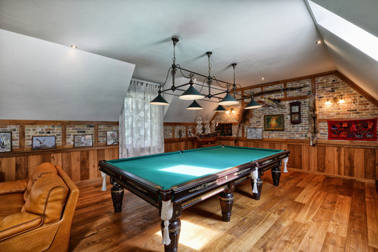 interior of the billiard room