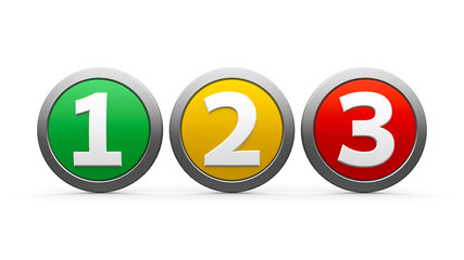 Icons numbers 1 2 3
