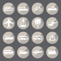 Transportation circle icon set.