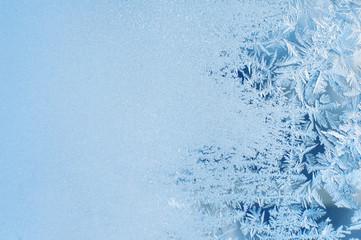 Winter background, frost on window Wall mural