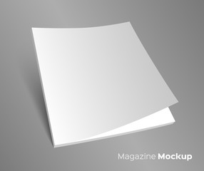 3D blank brochure cover on gray