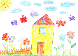 Child drawing of a house