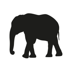 Isolated elephant. Vector silhouette