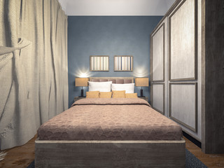 classic blue bedroom 3d rendering