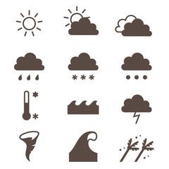 Weather icons set. Cloud, sun, precipitation