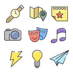 Vector flat color icons set