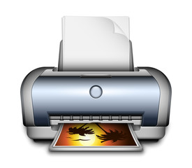 Printer icon with a paper sheets and photo. Vector Illustration
