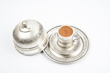 Turkish coffee in the copper cup