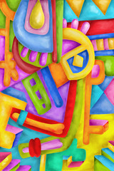 Spoed Foto op Canvas Klassieke abstractie Abstract with colorful shapes