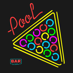 Neon Bar Symbol Billiards