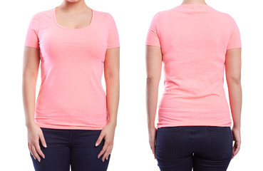 Pink tshirt on a young woman