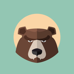 Bear Grizzly  Head Graphic. Logo vector