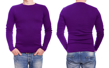 Young man with purple t shirt