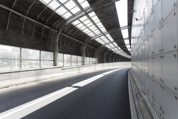 Empty tunnel of modern city