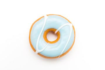 lecker donut mit blauer glasur