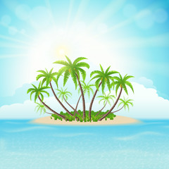 Wall Mural - Tropical island with palm trees, sky, clouds and sun