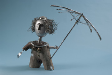 Recycled Art Woman With Umbrella