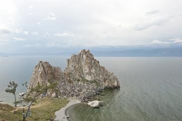 Burkhan Rock (Shamanka) on Olkhon Island, Baikal, Russia.