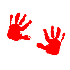 two red children's palm prints on a white background
