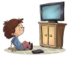 niño mirando la television