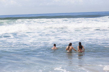 Girls Boy Swim Waves Beach