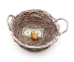 egg and dollar in a basket on a white background