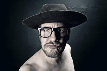 Portrait of crazy man