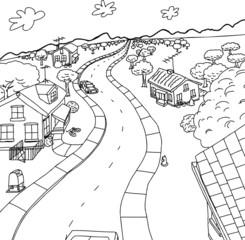 Outline Cartoon of Homes in Rural Scene