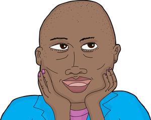 Cute Thoughtful Bald Lady